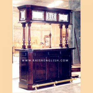 RABR 001 Antique Mahogany Straight Bar Cabinet