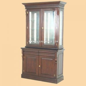 RABC 006 A 1 - Victoria Bookcase 2 Doors w/ Mirror Back & Square Pane