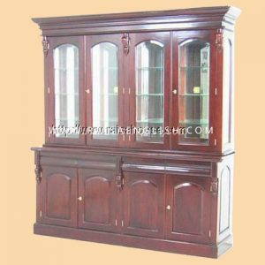 RABC 007 A2 - Victoria Bookcase 4 Doors w/ Mirror Back & Curve Panel