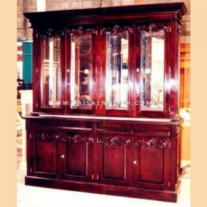 RABC 007 B - Victoria Bookcase 4 Doors Square Carved Panels w/ Mirror