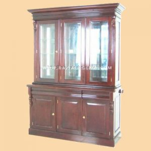 RABC 008 A1 - Victoria Bookcase 3 Dors w/ Mirror Back & Square Panel
