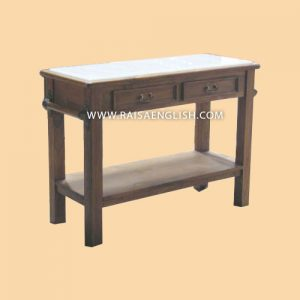 RACS 009 WM - Chopping Block Table with White Marble Top